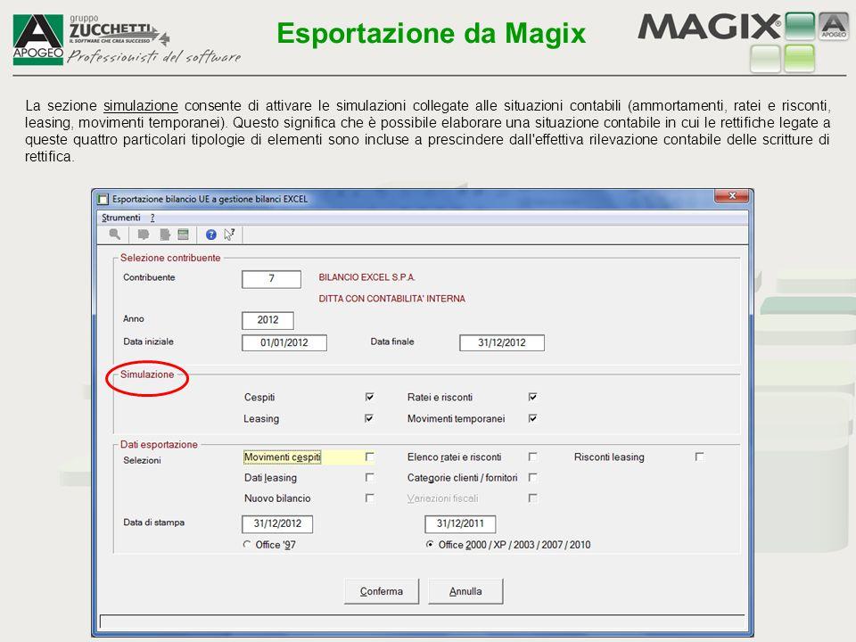 La sezione simulazione consente di attivare le simulazioni collegate alle situazioni contabili (ammortamenti, ratei e risconti, leasing, movimenti tem