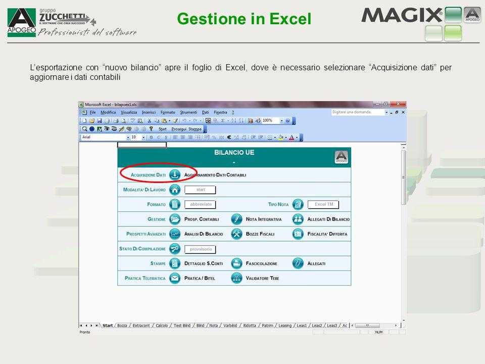 """L'esportazione con """"nuovo bilancio"""" apre il foglio di Excel, dove è necessario selezionare """"Acquisizione dati"""" per aggiornare i dati contabili Gestion"""