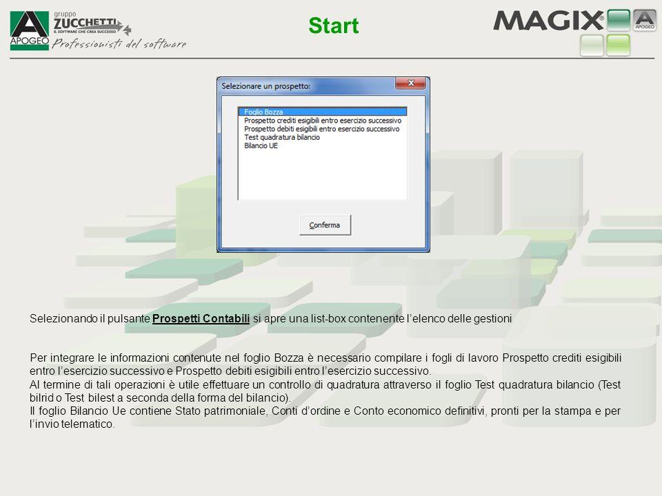 Selezionando il pulsante Prospetti Contabili si apre una list-box contenente l'elenco delle gestioni Per integrare le informazioni contenute nel fogli