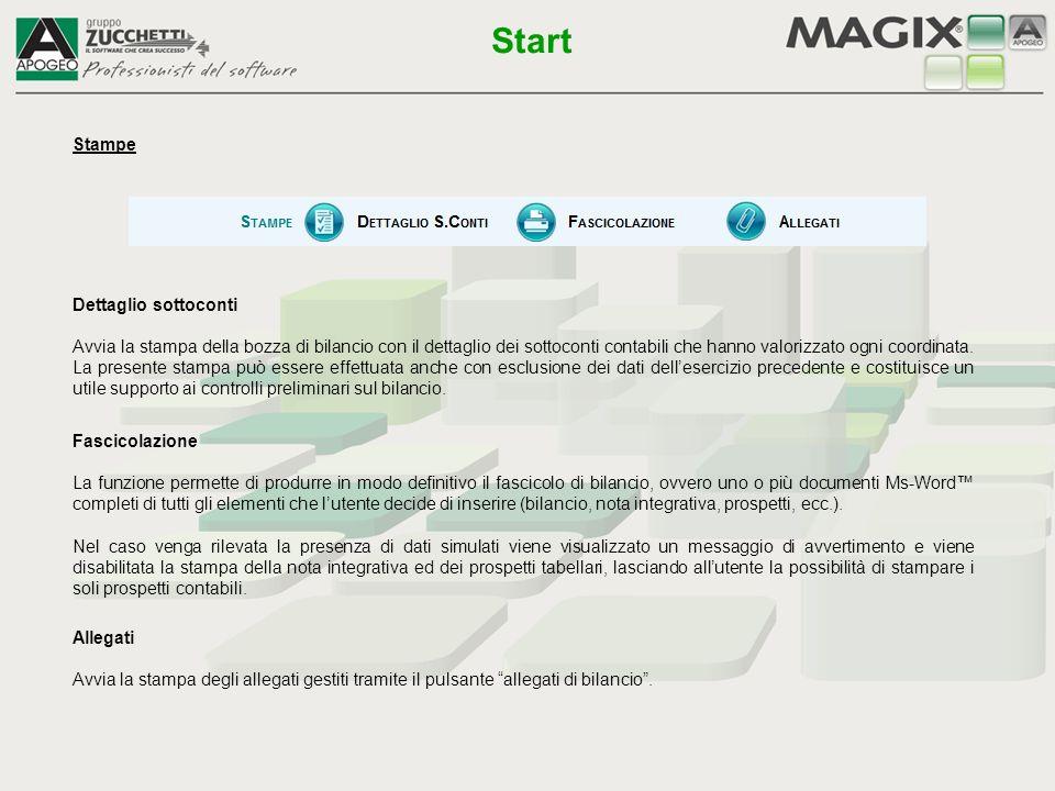 Fascicolazione La funzione permette di produrre in modo definitivo il fascicolo di bilancio, ovvero uno o più documenti Ms-Word™ completi di tutti gli