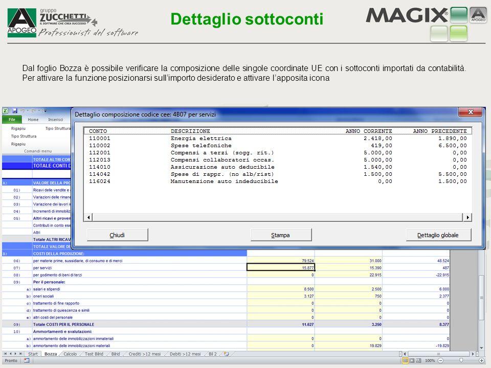 Dal foglio Bozza è possibile verificare la composizione delle singole coordinate UE con i sottoconti importati da contabilità. Per attivare la funzion
