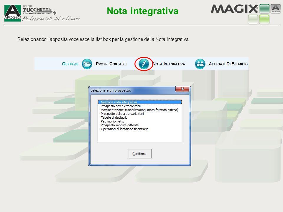 Selezionando l'apposita voce esce la list-box per la gestione della Nota Integrativa Nota integrativa