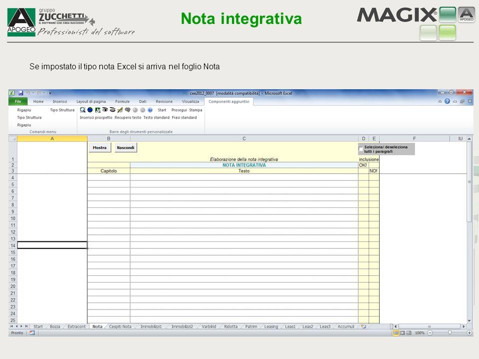 Se impostato il tipo nota Excel si arriva nel foglio Nota Nota integrativa