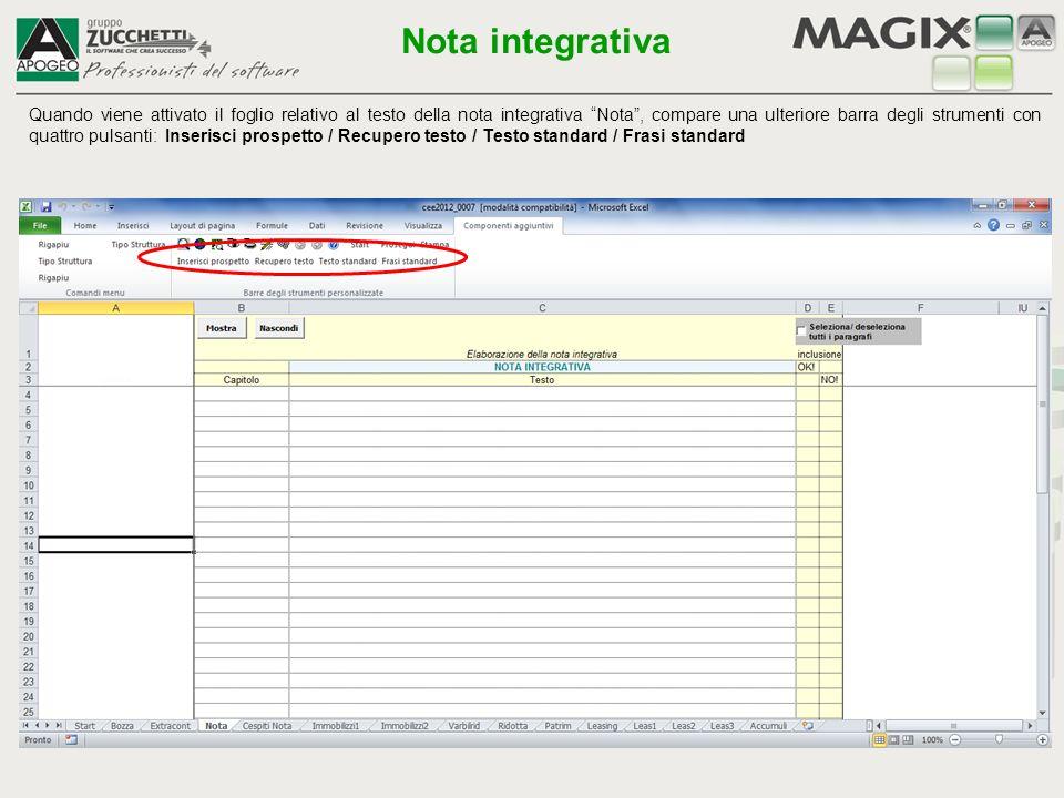 """Quando viene attivato il foglio relativo al testo della nota integrativa """"Nota"""", compare una ulteriore barra degli strumenti con quattro pulsanti: Ins"""