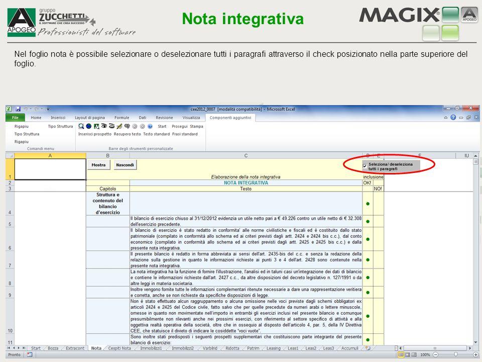 Nel foglio nota è possibile selezionare o deselezionare tutti i paragrafi attraverso il check posizionato nella parte superiore del foglio. Nota integ