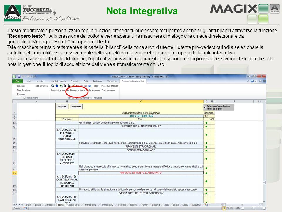 """Il testo modificato e personalizzato con le funzioni precedenti può essere recuperato anche sugli altri bilanci attraverso la funzione """"Recupero testo"""