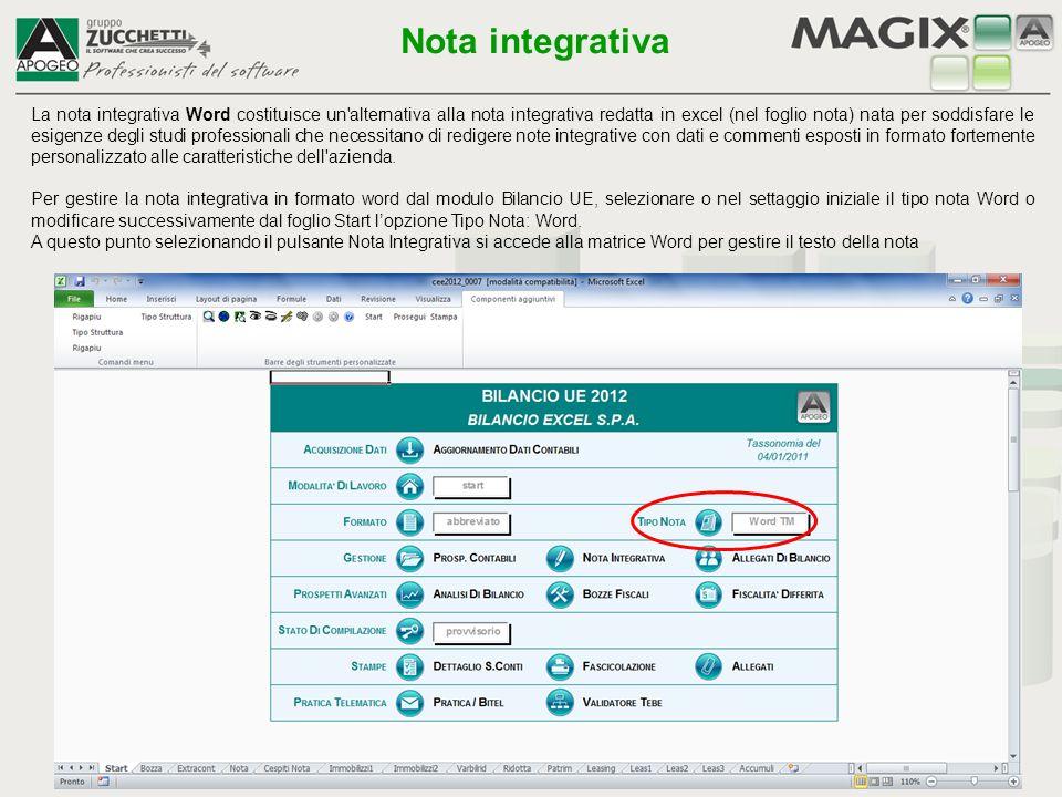 La nota integrativa Word costituisce un'alternativa alla nota integrativa redatta in excel (nel foglio nota) nata per soddisfare le esigenze degli stu