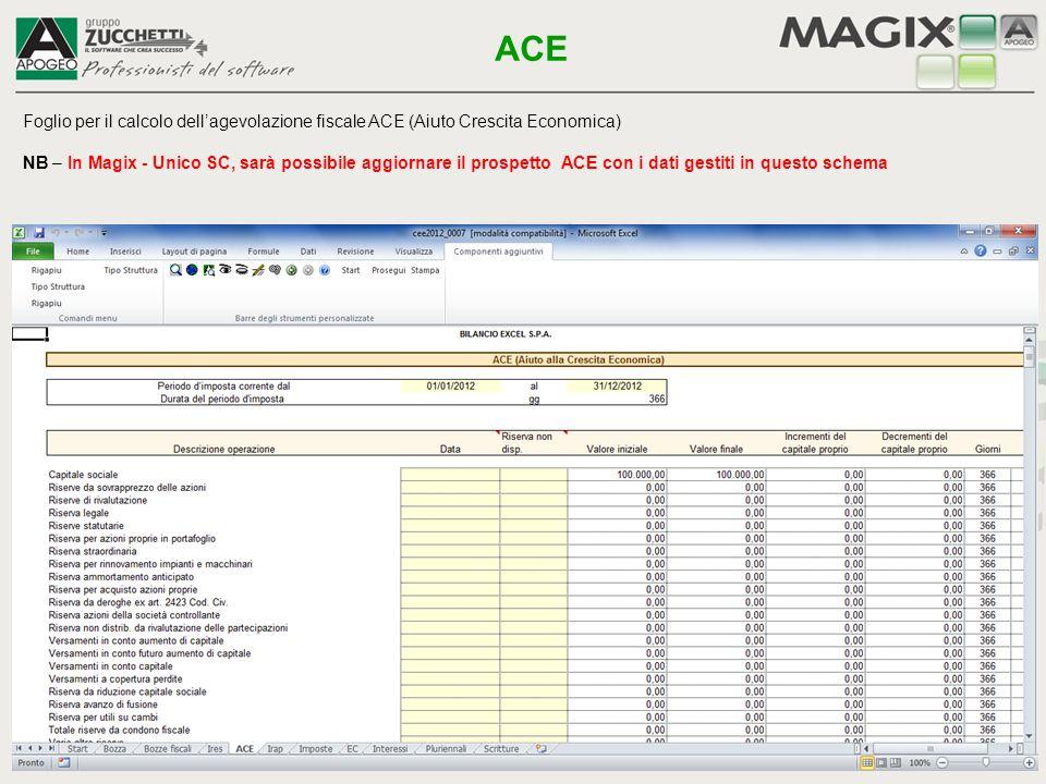 Foglio per il calcolo dell'agevolazione fiscale ACE (Aiuto Crescita Economica) NB – In Magix - Unico SC, sarà possibile aggiornare il prospetto ACE co