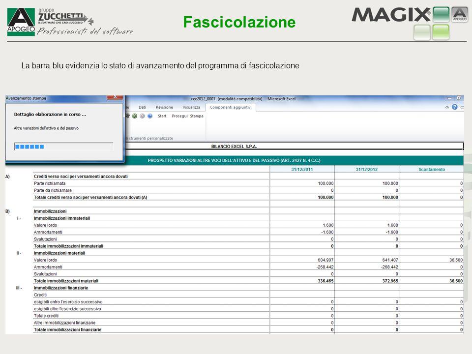 La barra blu evidenzia lo stato di avanzamento del programma di fascicolazione Fascicolazione