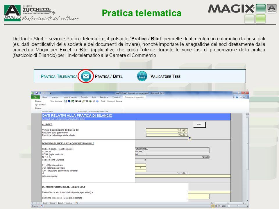 """Dal foglio Start – sezione Pratica Telematica, il pulsante """"Pratica / Bitel"""" permette di alimentare in automatico la base dati (es. dati identificativ"""