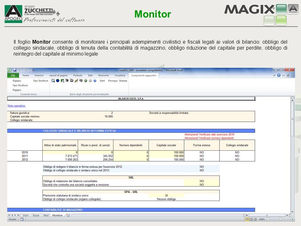 Il foglio Monitor consente di monitorare i principali adempimenti civilistici e fiscali legati ai valori di bilancio: obbligo del collegio sindacale,