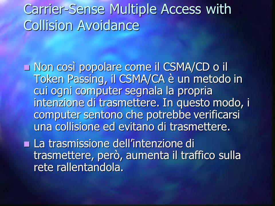 Carrier-Sense Multiple Access with Collision Avoidance Non così popolare come il CSMA/CD o il Token Passing, il CSMA/CA è un metodo in cui ogni comput