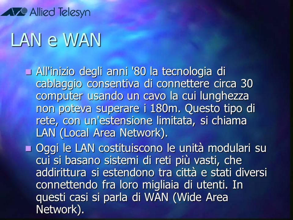 LAN e WAN All'inizio degli anni '80 la tecnologia di cablaggio consentiva di connettere circa 30 computer usando un cavo la cui lunghezza non poteva s