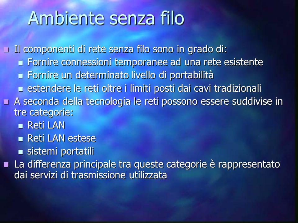Ambiente senza filo Il componenti di rete senza filo sono in grado di: Il componenti di rete senza filo sono in grado di: Fornire connessioni temporan