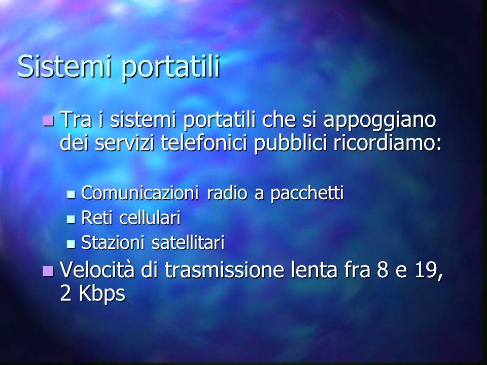 Sistemi portatili Tra i sistemi portatili che si appoggiano dei servizi telefonici pubblici ricordiamo: Tra i sistemi portatili che si appoggiano dei