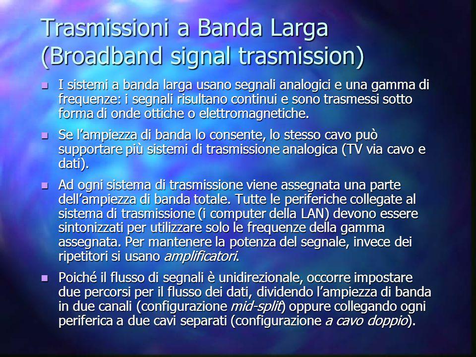 Trasmissioni a Banda Larga (Broadband signal trasmission) I sistemi a banda larga usano segnali analogici e una gamma di frequenze: i segnali risultan