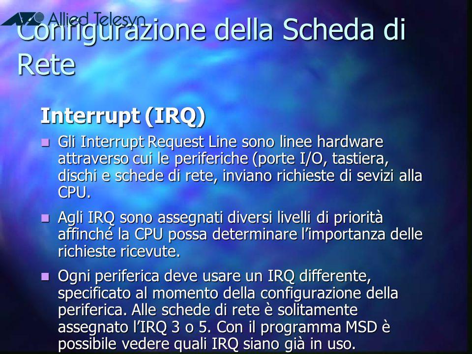 Configurazione della Scheda di Rete Interrupt (IRQ) Gli Interrupt Request Line sono linee hardware attraverso cui le periferiche (porte I/O, tastiera,
