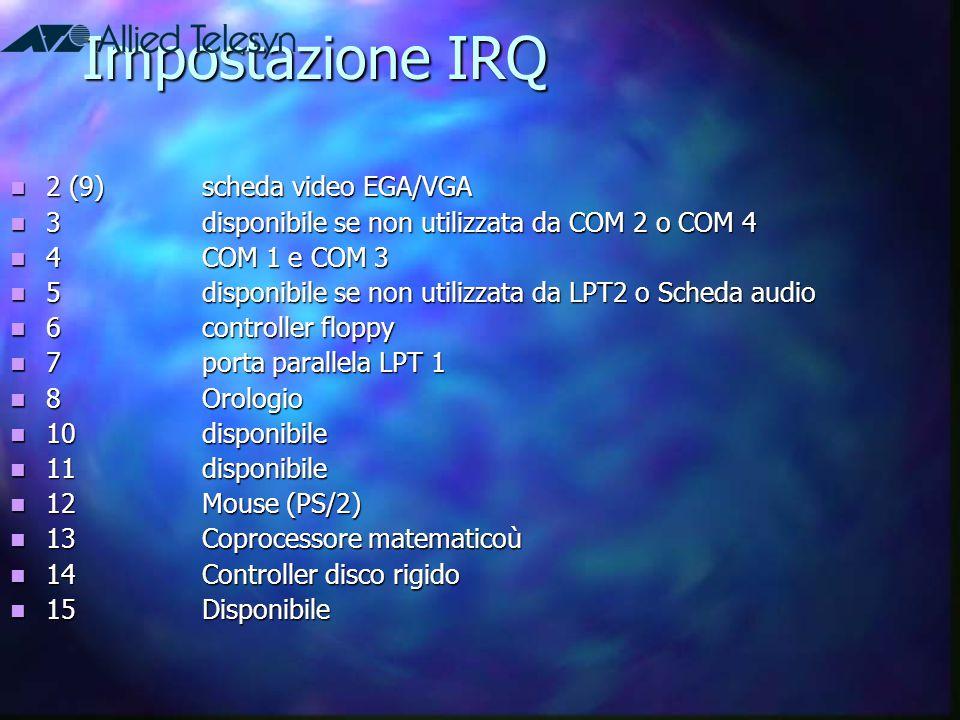Impostazione IRQ 2 (9)scheda video EGA/VGA 2 (9)scheda video EGA/VGA 3disponibile se non utilizzata da COM 2 o COM 4 3disponibile se non utilizzata da