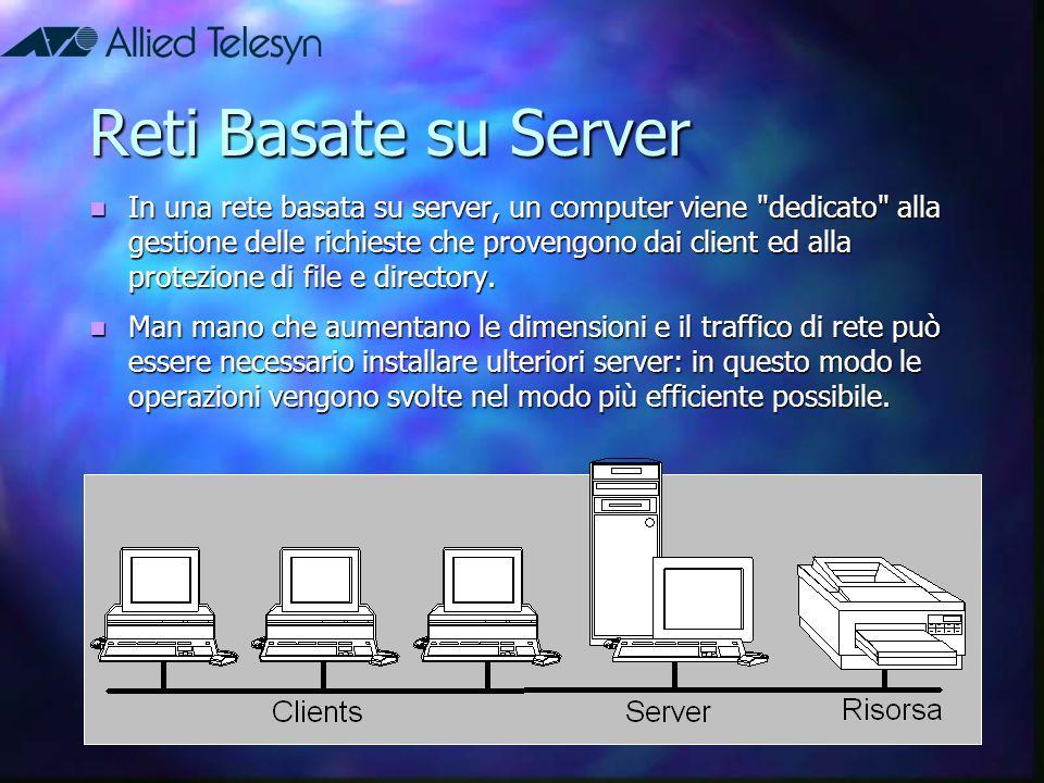 Reti Basate su Server In una rete basata su server, un computer viene