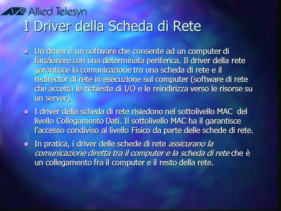 I Driver della Scheda di Rete Un driver è un software che consente ad un computer di funzionare con una determinata periferica. Il driver della rete g