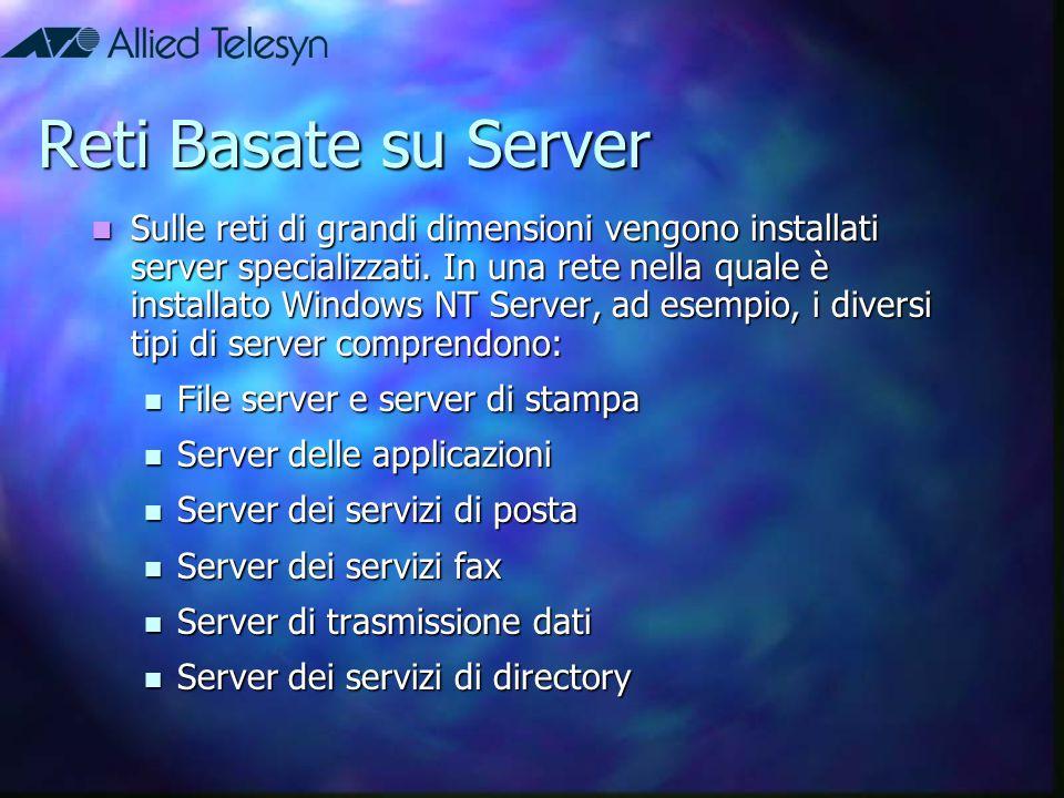 Vantaggi delle reti basate su server  Condivisione delle risorse  Protezione  Backup  Ridondanza  Numero di utenti  Hardware dei client leggero
