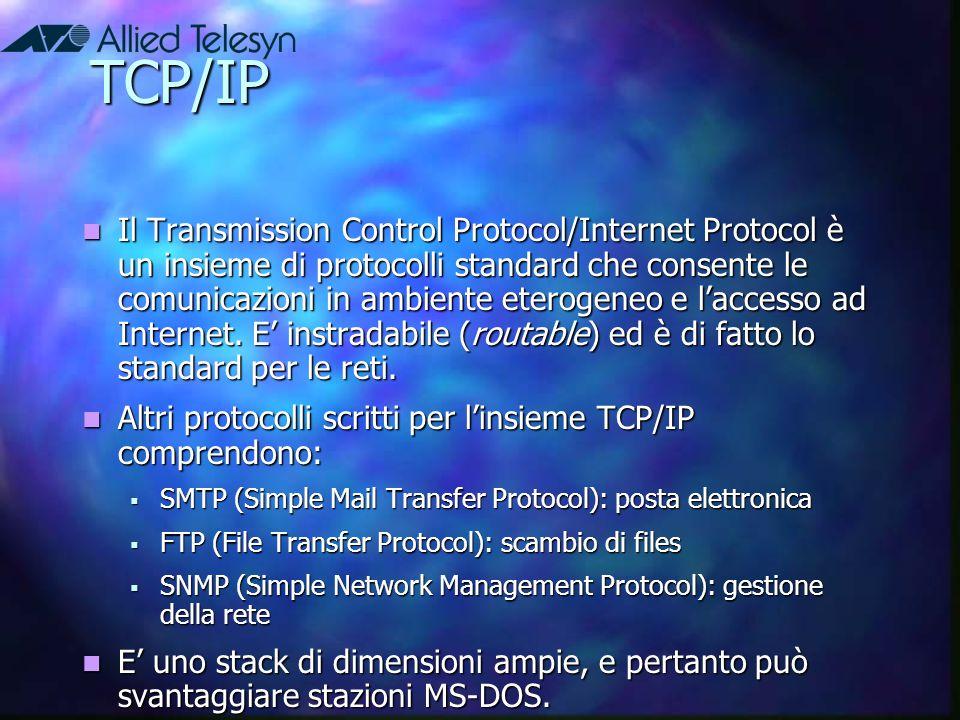 TCP/IP Il Transmission Control Protocol/Internet Protocol è un insieme di protocolli standard che consente le comunicazioni in ambiente eterogeneo e l