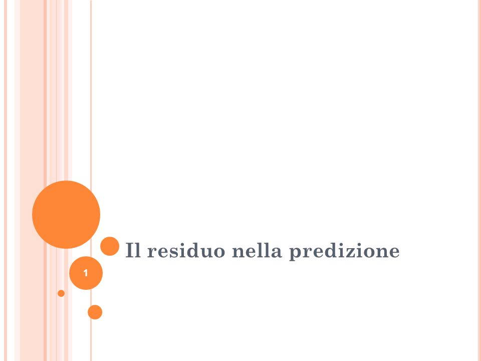 D EFINIZIONE DI RESIDUO Il residuo è la differenza fra il punteggio predetto e il punteggio osservato Residuo= Osservato – Predetto Graficamente, è la distanza tra il punto indicante la misurazione realmente effettuata e il suo corrispondente appartenente alla retta di regressione.