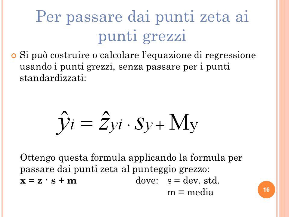 Si può costruire o calcolare l'equazione di regressione usando i punti grezzi, senza passare per i punti standardizzati: Ottengo questa formula applic