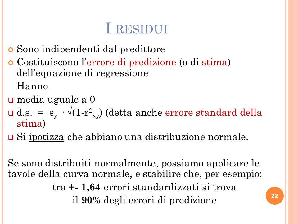 I RESIDUI Sono indipendenti dal predittore Costituiscono l'errore di predizione (o di stima) dell'equazione di regressione Hanno  media uguale a 0 