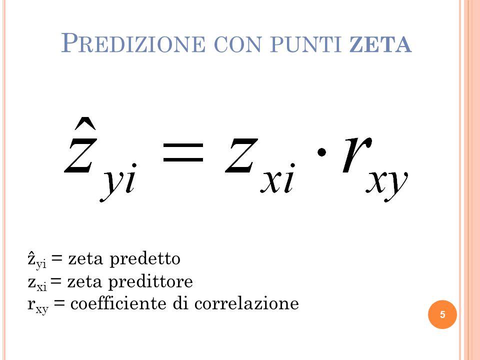 P REDIZIONE CON PUNTI ZETA ẑ yi = zeta predetto z xi = zeta predittore r xy = coefficiente di correlazione 5