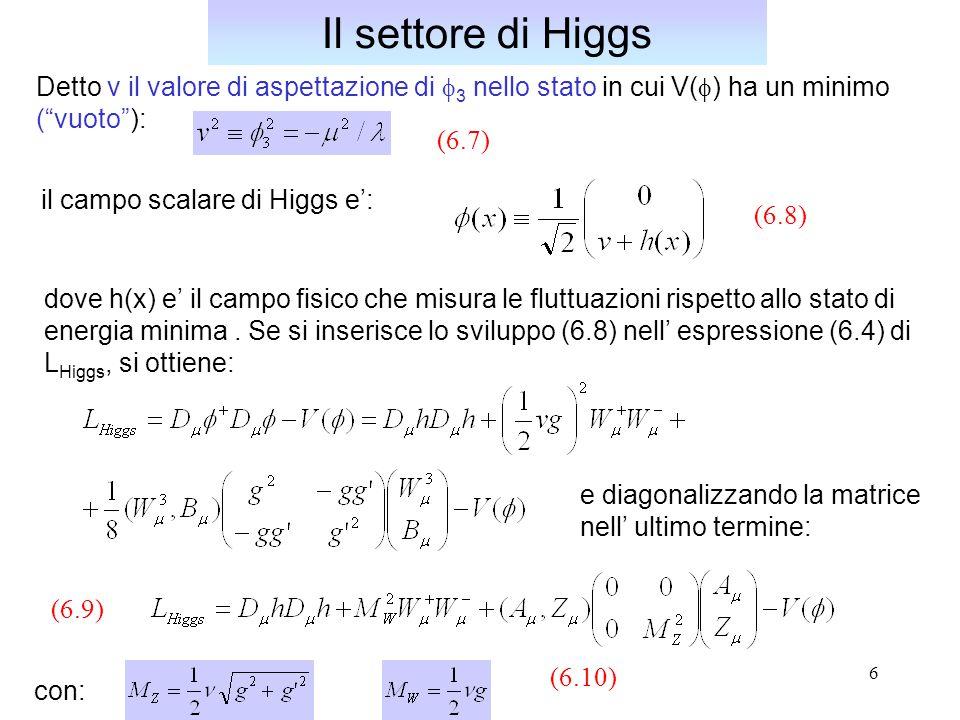7 Dalle (6.10) si ricava quindi la relazione tra le masse dei bosoni vettori, indipendente dal valore di v: Il settore di Higgs Se si sviluppa la relazione (6.6) per V(  ) in termini del campo h(x), si ha: (6.11) termini di autointerazione per il campo h(x)  2 = - v 2 [eq.(6.7)] termine di massa La massa del campo scalare di Higgs e': Essa e' un parametro libero, non predetto dal modello