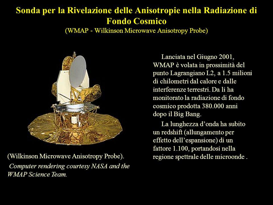 Sonda per la Rivelazione delle Anisotropie nella Radiazione di Fondo Cosmico (WMAP - Wilkinson Microwave Anisotropy Probe) Lanciata nel Giugno 2001, WMAP è volata in prossimità del punto Lagrangiano L2, a 1.5 milioni di chilometri dal calore e dalle interferenze terrestri.