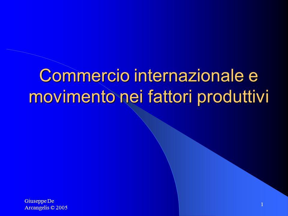 Giuseppe De Arcangelis © 2005 2 Movimenti internazionali dei fattori produttivi Capitale  Investimenti diretti esteri (IDE): – IDE orizzontali – IDE verticali Lavoro: le migrazioni