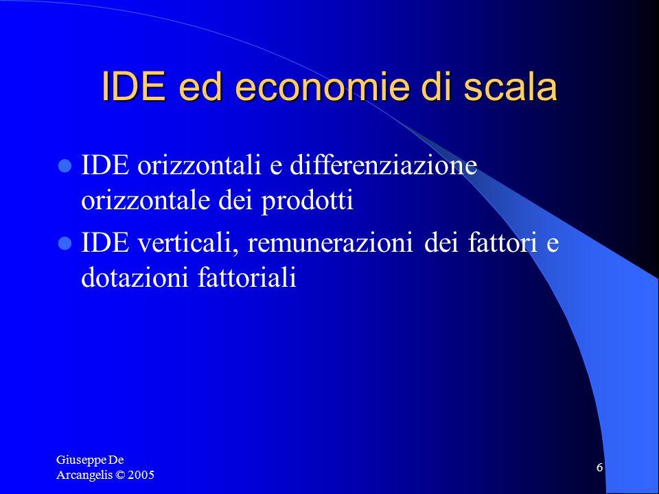 Giuseppe De Arcangelis © 2005 7 Multinazionali, benessere e crescita economica Effetto reddito Effetti sulla concorrenza e sui sovraprofitti Effetti dell'aumento delle varietà Effetti di spillover