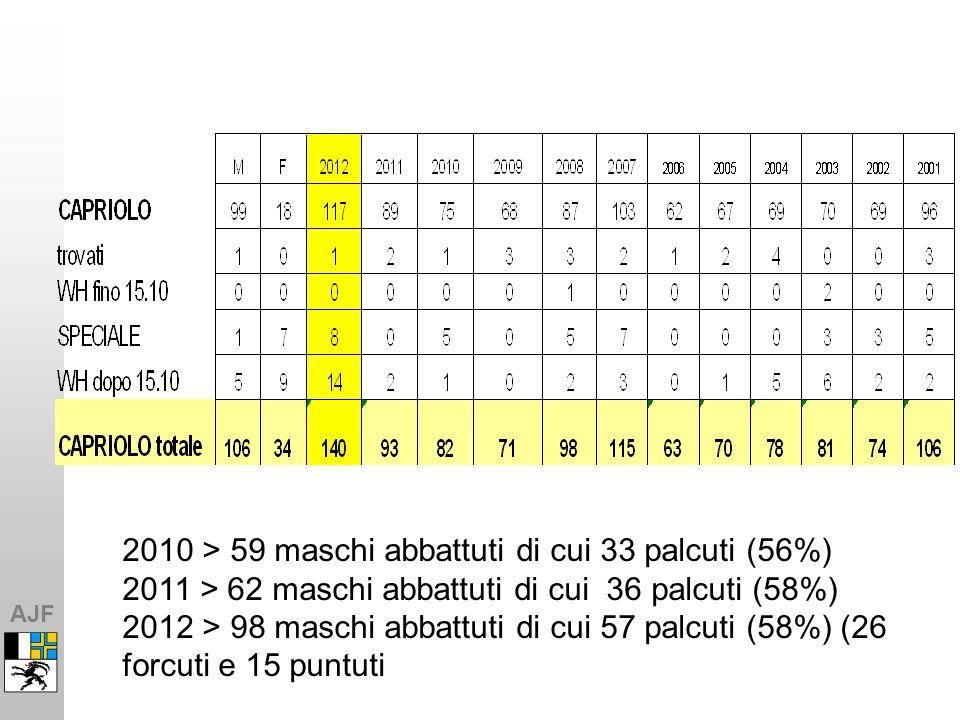 AJF 2010 > 59 maschi abbattuti di cui 33 palcuti (56%) 2011 > 62 maschi abbattuti di cui 36 palcuti (58%) 2012 > 98 maschi abbattuti di cui 57 palcuti (58%) (26 forcuti e 15 puntuti
