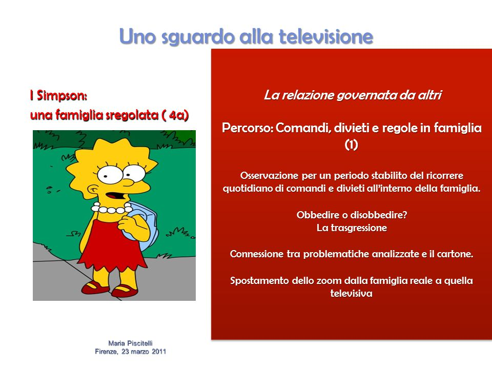 Uno sguardo alla televisione I Simpson: una famiglia sregolata ( 4a) Maria Piscitelli Firenze, 23 marzo 2011 La relazione governata da altri Percorso: