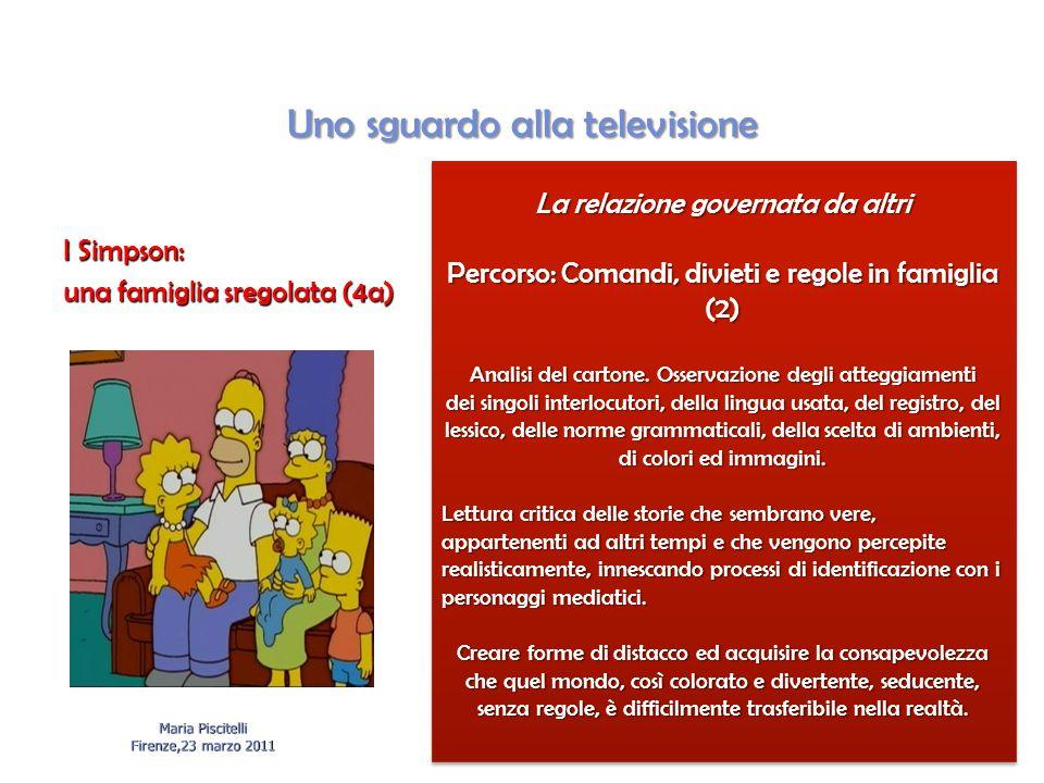 Uno sguardo alla televisione I Simpson: una famiglia sregolata (4a) Maria Piscitelli Firenze,23 marzo 2011 La relazione governata da altri Percorso: Comandi, divieti e regole in famiglia (2) Analisi del cartone.