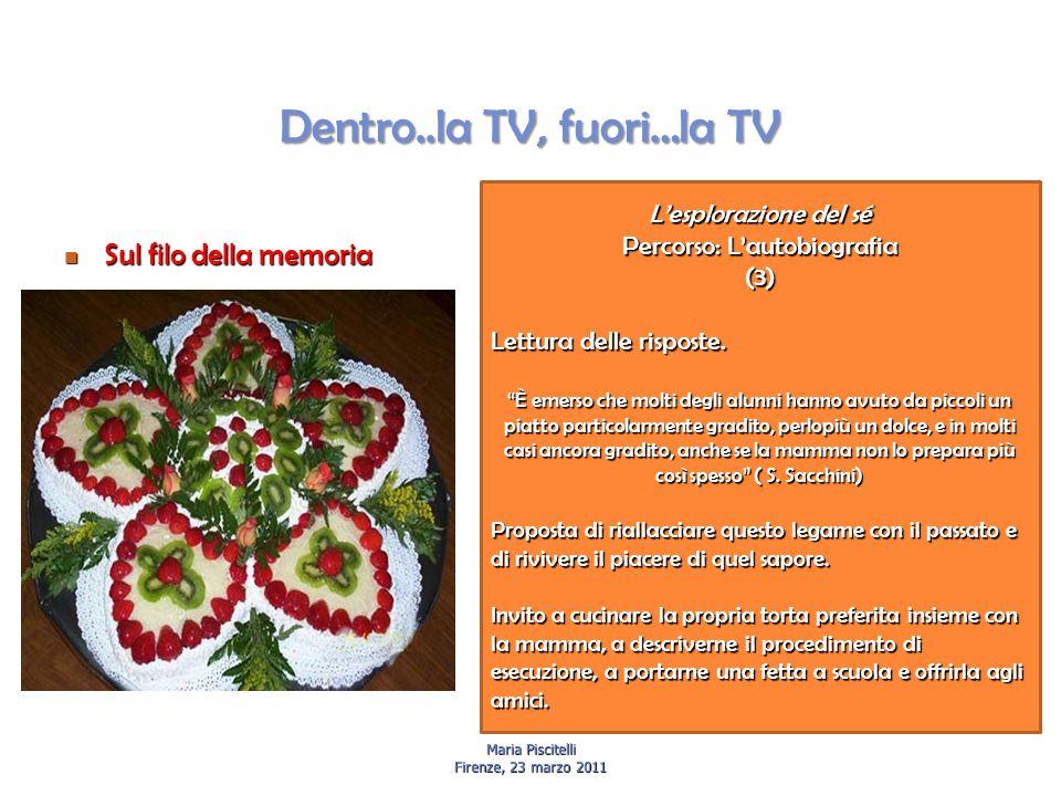 Dentro..la TV, fuori…la TV Sul filo della memoria Sul filo della memoria Maria Piscitelli Firenze, 23 marzo 2011 L'esplorazione del sé Percorso: L'autobiografia (3) Lettura delle risposte.