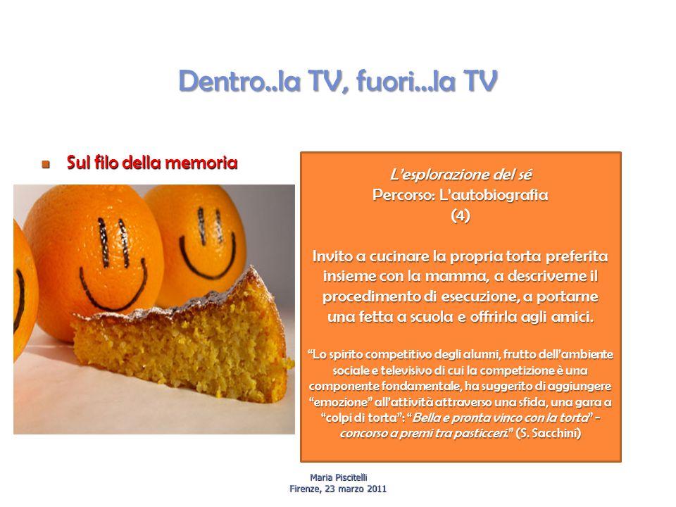 Dentro..la TV, fuori…la TV Sul filo della memoria Sul filo della memoria Maria Piscitelli Firenze, 23 marzo 2011 L'esplorazione del sé Percorso: L'aut