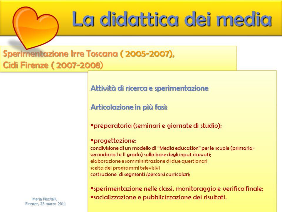 Sperimentazione Irre Toscana ( 2005-2007), Cidi Firenze ( 2007-2008 Cidi Firenze ( 2007-2008) Sperimentazione Irre Toscana ( 2005-2007), Cidi Firenze