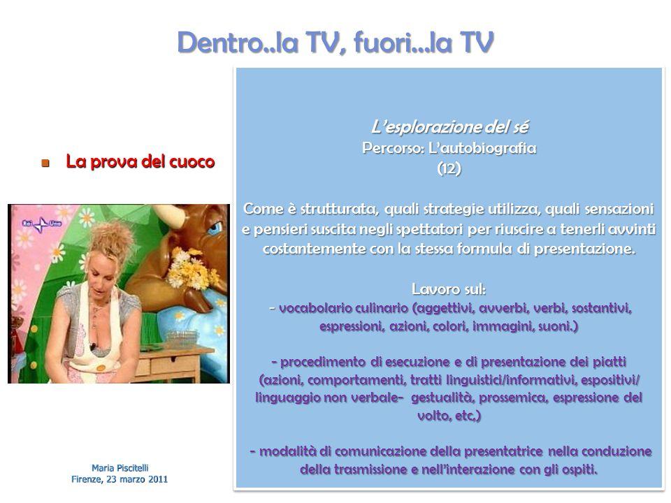 Dentro..la TV, fuori…la TV La prova del cuoco La prova del cuoco Maria Piscitelli Firenze, 23 marzo 2011 L'esplorazione del sé Percorso: L'autobiograf