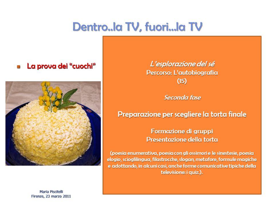 """Dentro..la TV, fuori…la TV La prova dei """"cuochi"""" La prova dei """"cuochi"""" Maria Piscitelli Firenze, 23 marzo 2011 L'esplorazione del sé Percorso: L'autob"""