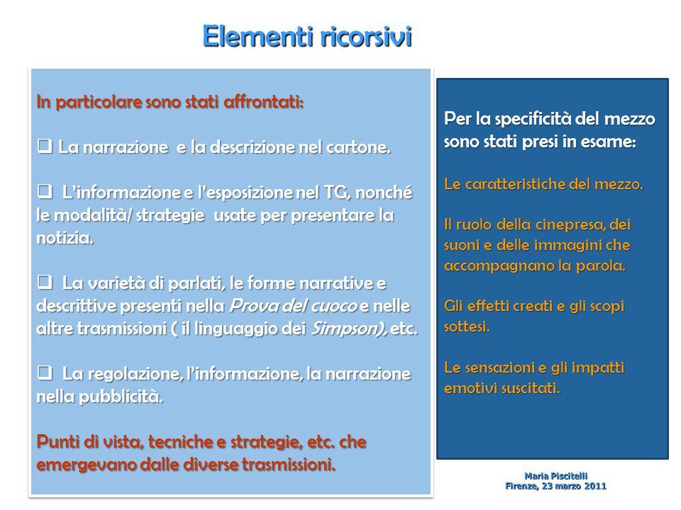 Elementi ricorsivi Maria Piscitelli Firenze, 23 marzo 2011 In particolare sono stati affrontati:  La narrazione e la descrizione nel cartone.
