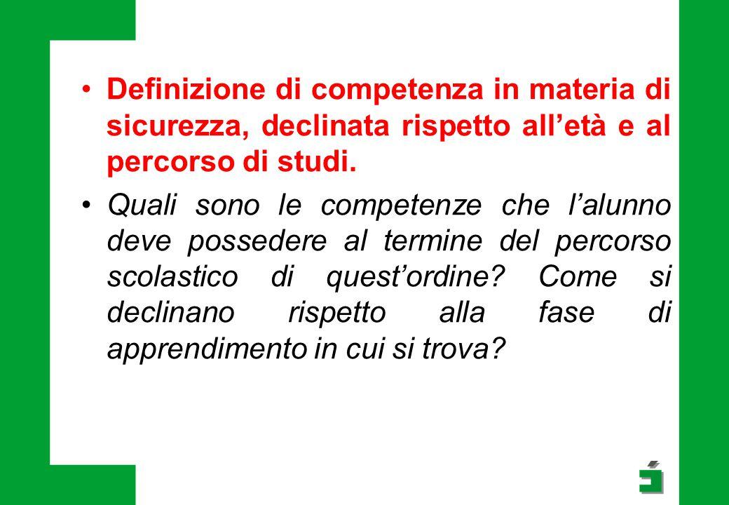 Indicatori cognitivo/comportamentali che segnalano l'acquisizione della competenza.