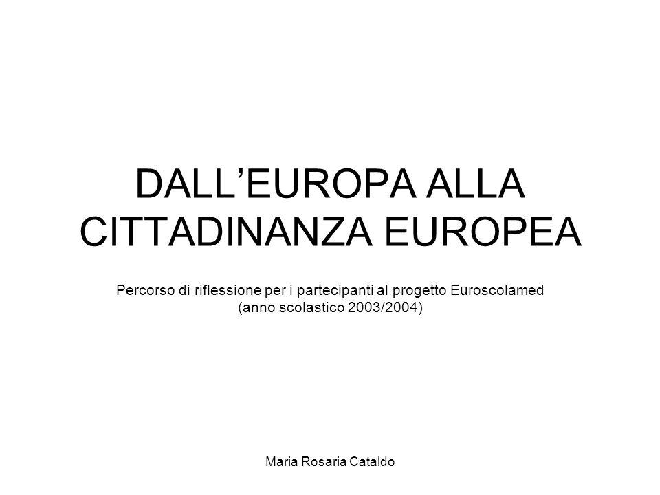 Maria Rosaria Cataldo DALL'EUROPA ALLA CITTADINANZA EUROPEA Percorso di riflessione per i partecipanti al progetto Euroscolamed (anno scolastico 2003/2004)