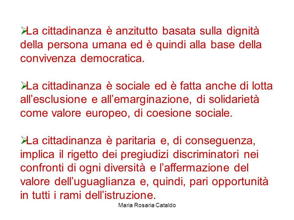 Maria Rosaria Cataldo  La cittadinanza è anzitutto basata sulla dignità della persona umana ed è quindi alla base della convivenza democratica.