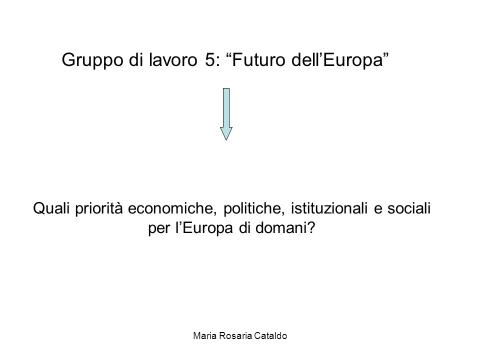 Maria Rosaria Cataldo Gruppo di lavoro 5: Futuro dell'Europa Quali priorità economiche, politiche, istituzionali e sociali per l'Europa di domani?