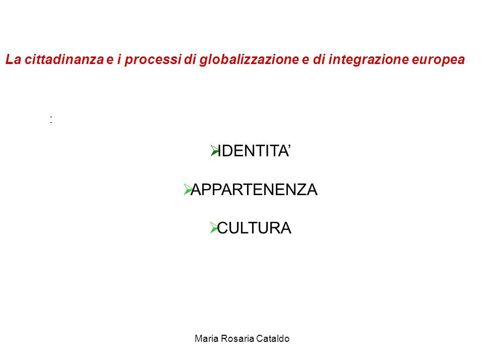 Maria Rosaria Cataldo La cittadinanza e i processi di globalizzazione e di integrazione europea :  IDENTITA'  APPARTENENZA  CULTURA