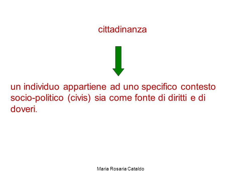 Maria Rosaria Cataldo cittadinanza un individuo appartiene ad uno specifico contesto socio-politico (civis) sia come fonte di diritti e di doveri.