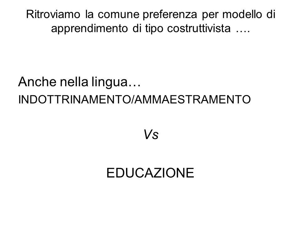 Ritroviamo la comune preferenza per modello di apprendimento di tipo costruttivista ….